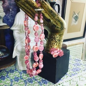 VTG Pink Glass Beaded Necklace and Earrings